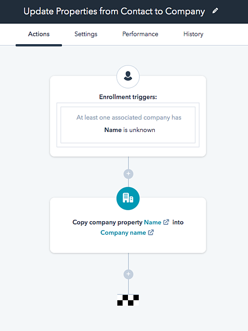 Update Properties from Contact to Company workflow example